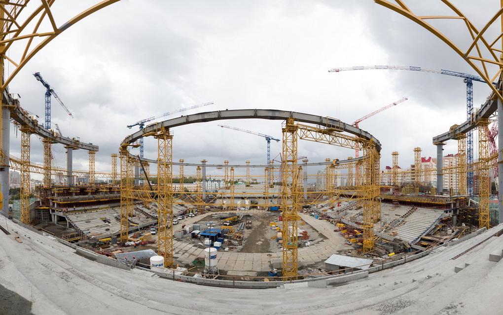 Строительство опорных колонн крыши стадиона ЧМ-2018 вЕкатеринбурге окончено