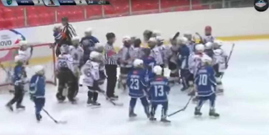 Комментатор яростно отреагировал надраку молодых хоккеистов вовремя матча