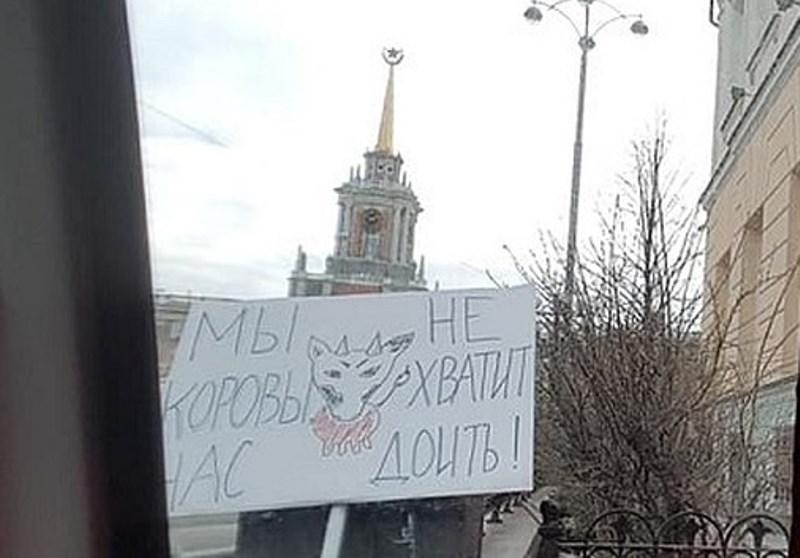 «Мы не коровы, хватит нас доить»: жителя Екатеринбурга задержали во время первомайской демонстрации