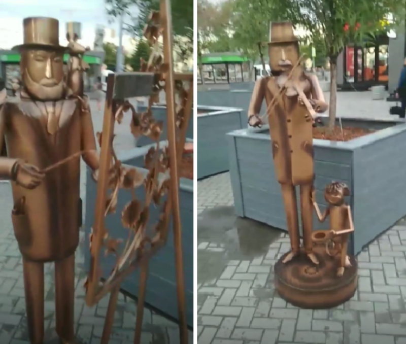 Недалёко от железнодорожного вокзала в Екатеринбурге появились четыре необычные скульптуры