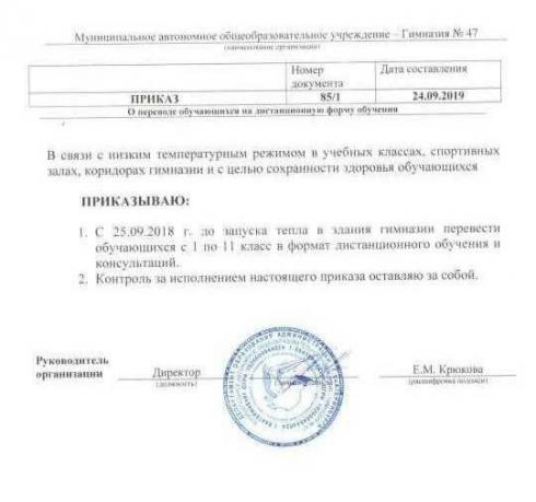 В Екатеринбурге из-за холодов закрыли гимназию